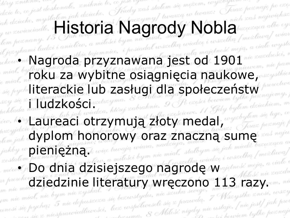 Historia Nagrody Nobla