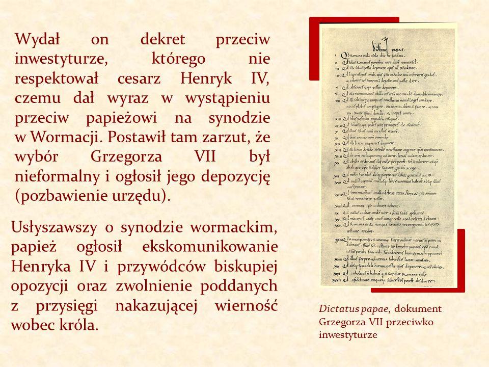 Dictatus papae, dokument Grzegorza VII przeciwko inwestyturze