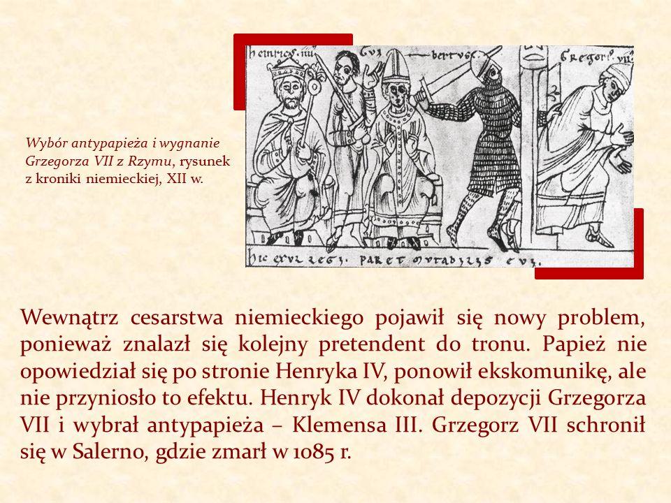Wybór antypapieża i wygnanie Grzegorza VII z Rzymu, rysunek z kroniki niemieckiej, XII w.