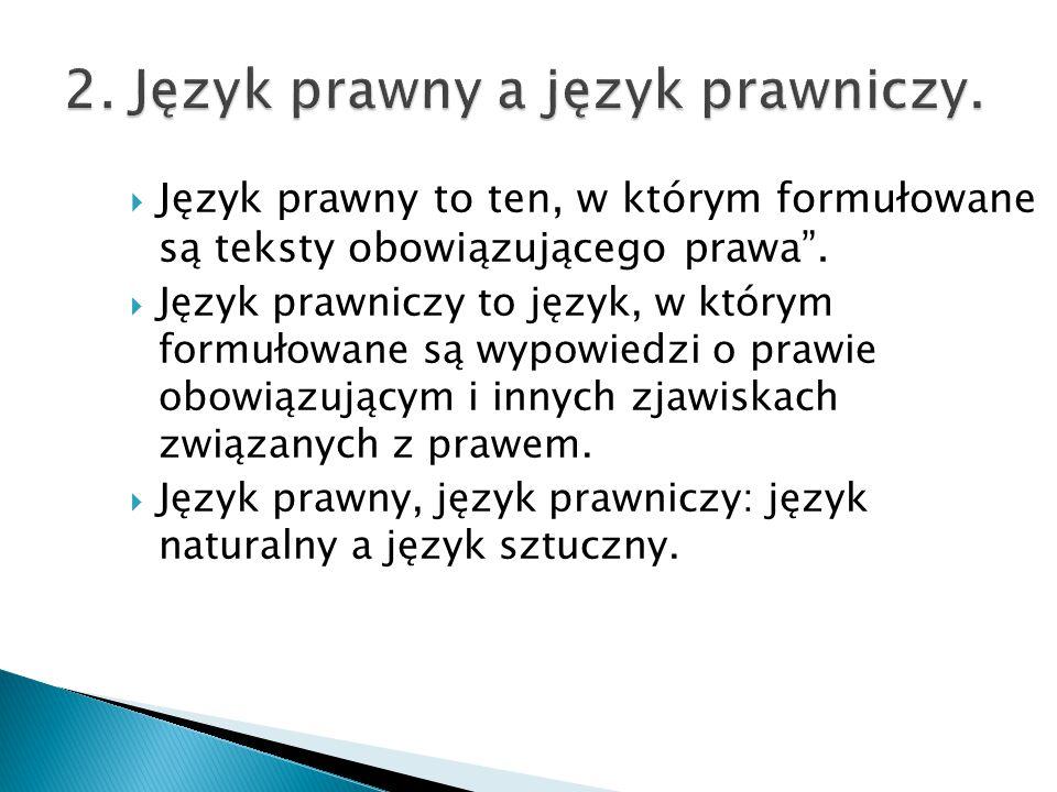 2. Język prawny a język prawniczy.