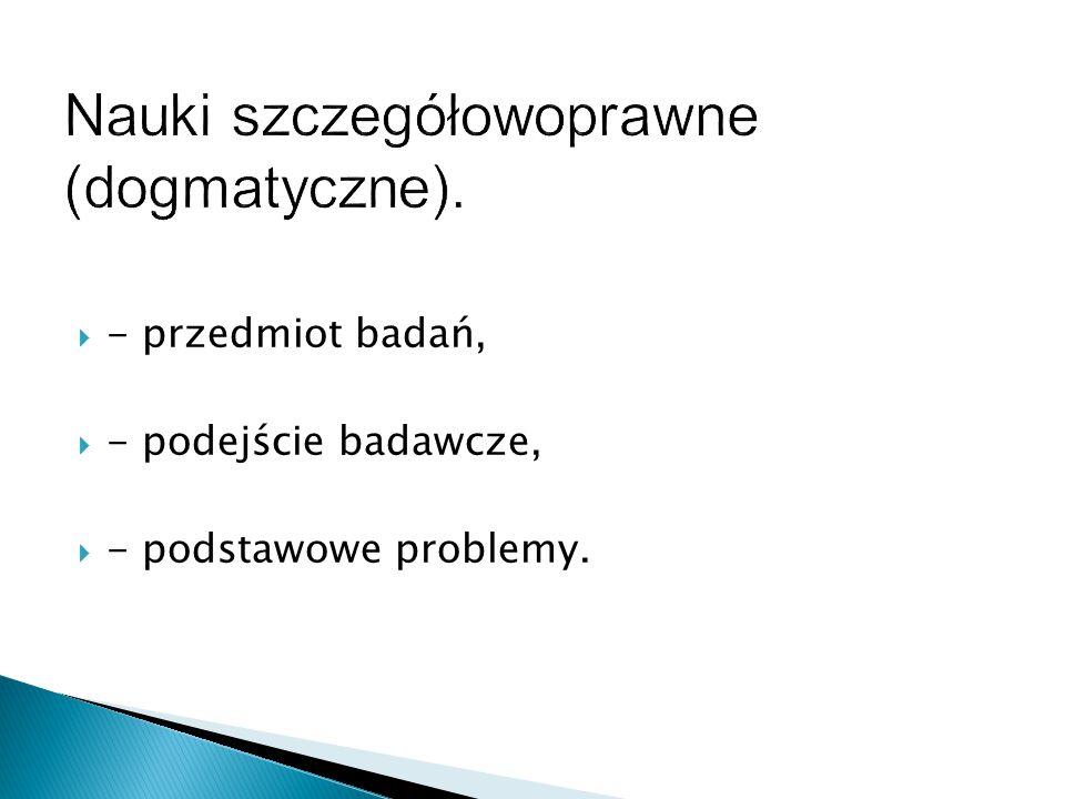 Nauki szczegółowoprawne (dogmatyczne).