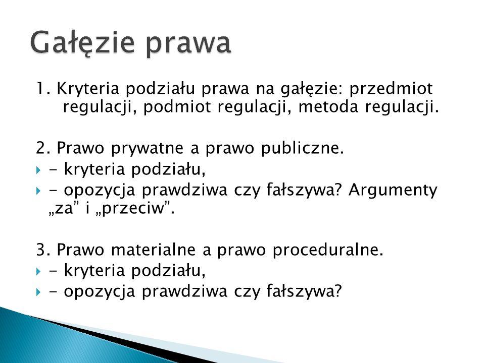 Gałęzie prawa 1. Kryteria podziału prawa na gałęzie: przedmiot regulacji, podmiot regulacji, metoda regulacji.