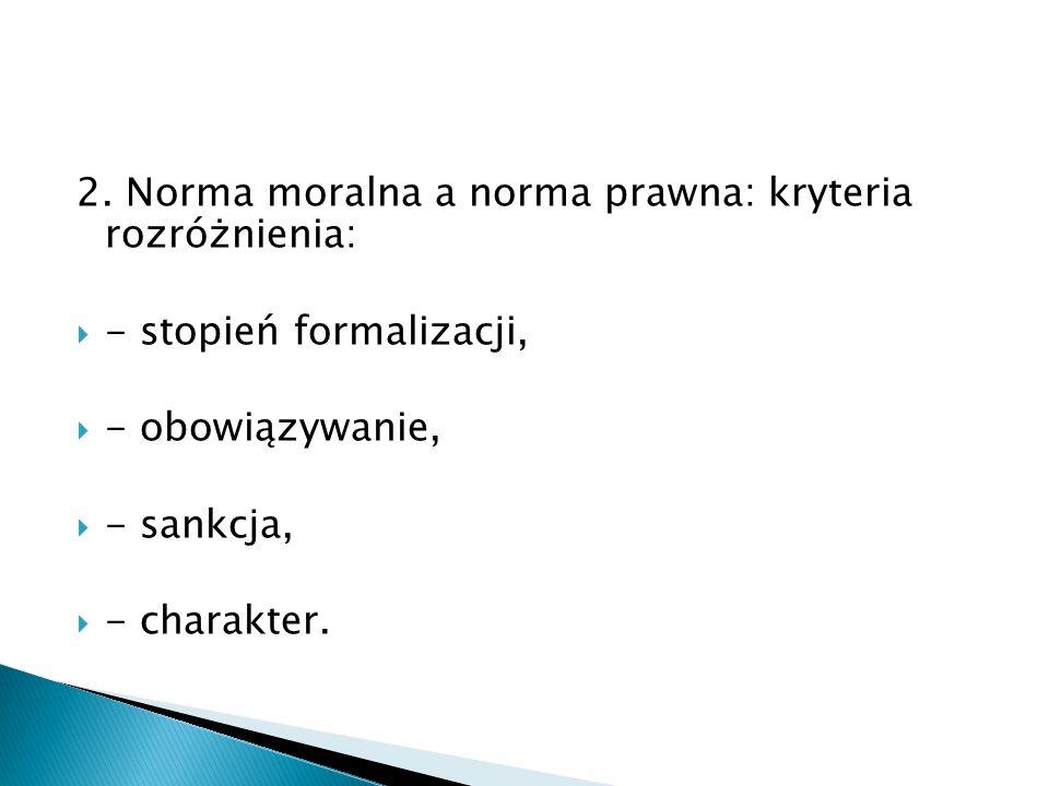 2. Norma moralna a norma prawna: kryteria rozróżnienia: