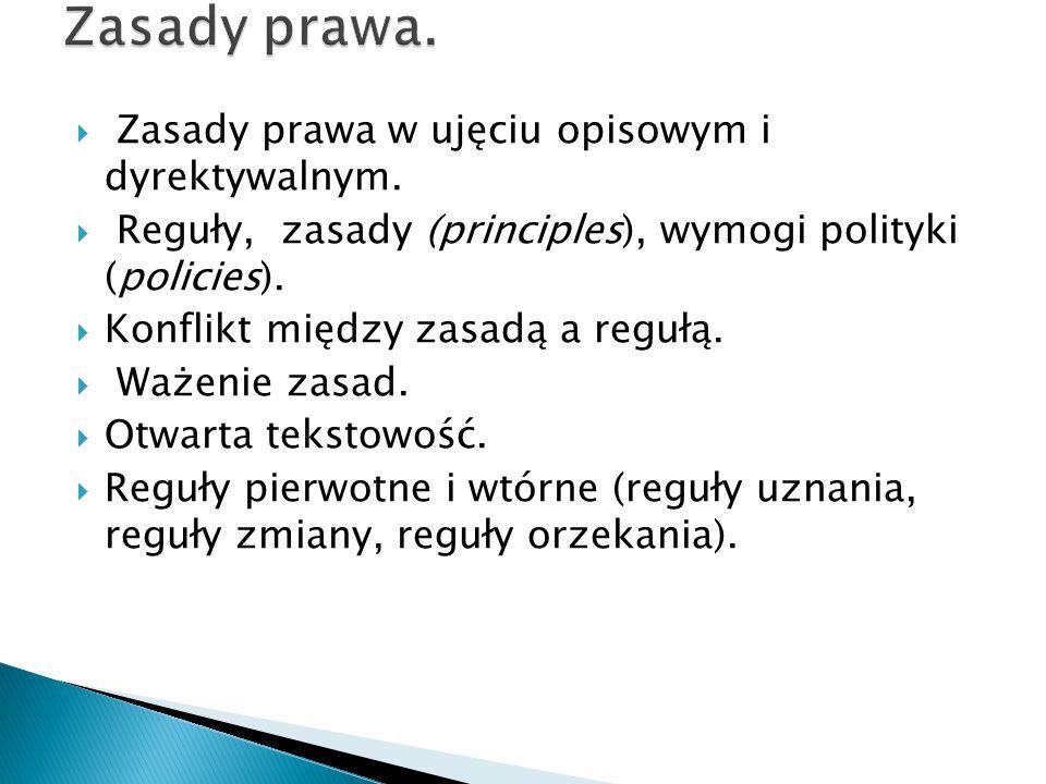 Zasady prawa. Zasady prawa w ujęciu opisowym i dyrektywalnym.
