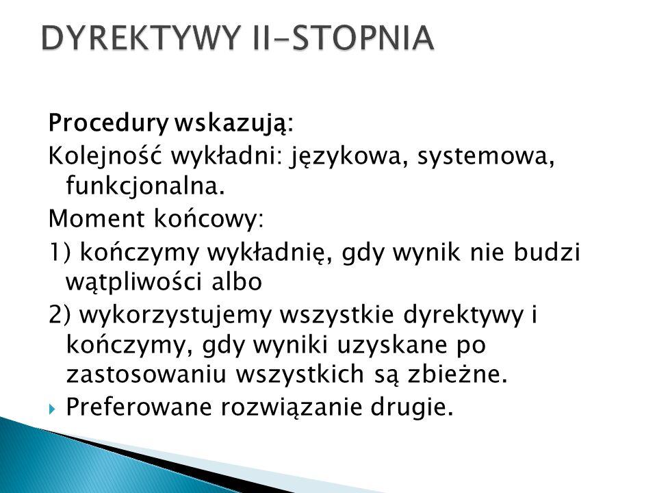 DYREKTYWY II-STOPNIA Procedury wskazują: