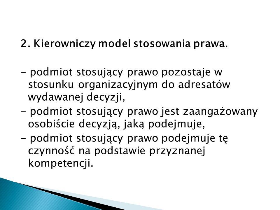 2. Kierowniczy model stosowania prawa.