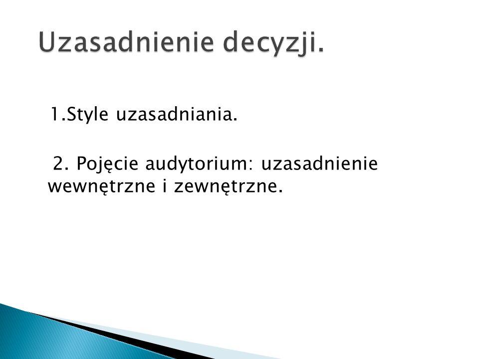Uzasadnienie decyzji. 1.Style uzasadniania. 2.