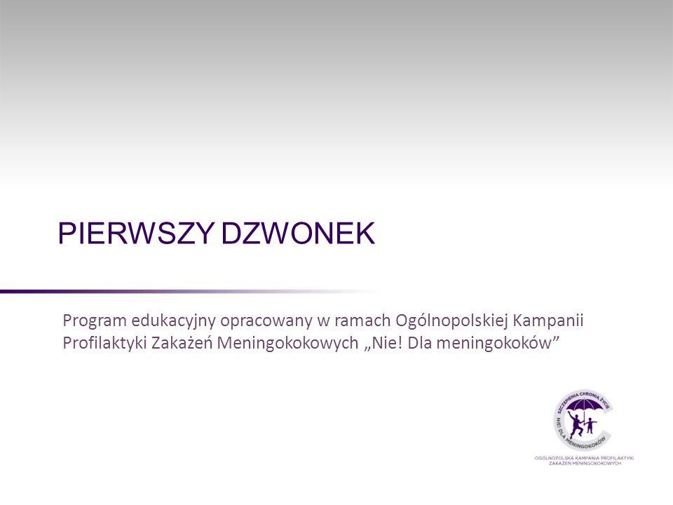"""PIERWSZY DZWONEK Program edukacyjny opracowany w ramach Ogólnopolskiej Kampanii Profilaktyki Zakażeń Meningokokowych """"Nie."""