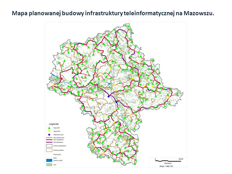Mapa planowanej budowy infrastruktury teleinformatycznej na Mazowszu.