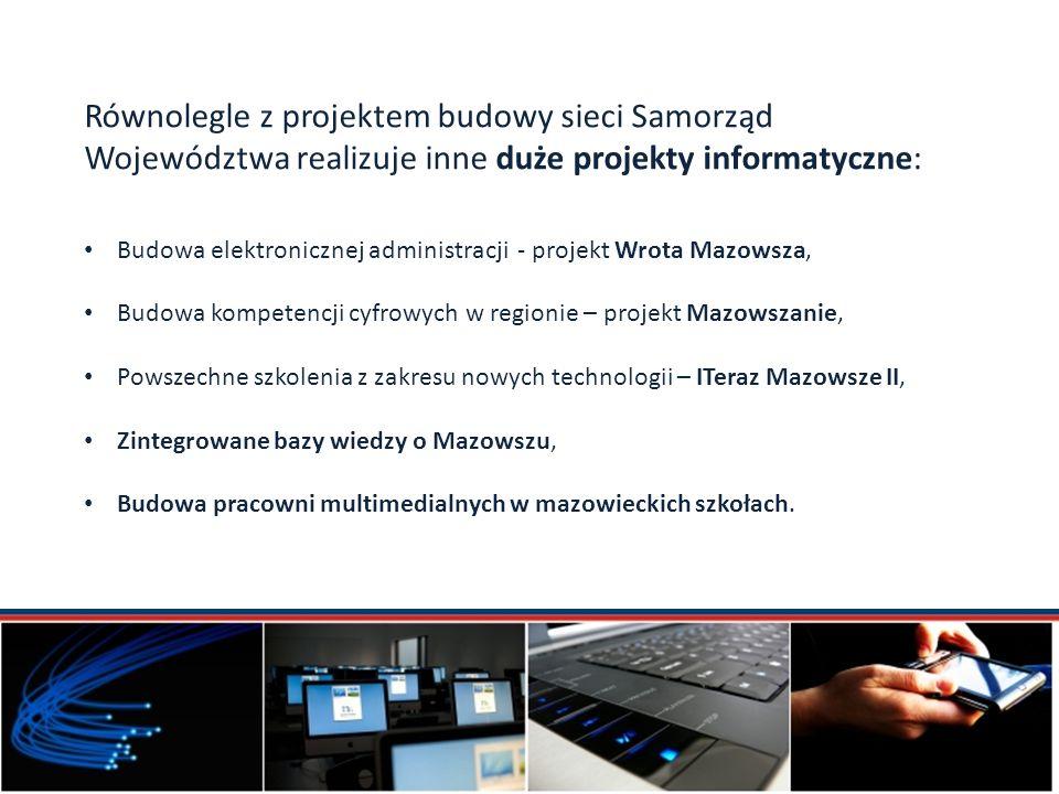 Równolegle z projektem budowy sieci Samorząd Województwa realizuje inne duże projekty informatyczne: