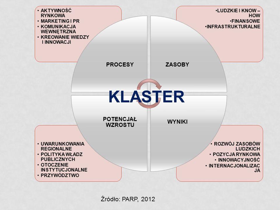 KLASTER Źródło: PARP, 2012 PROCESY ZASOBY WYNIKI POTENCJAŁ WZROSTU