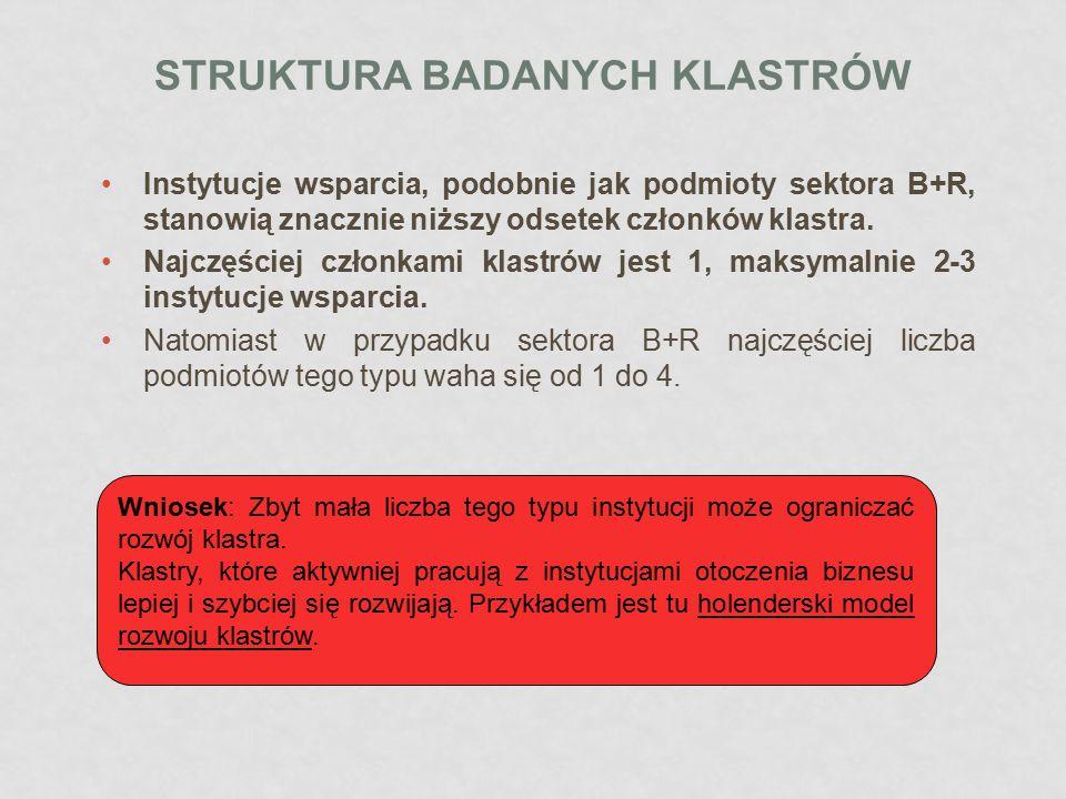 Struktura badanych klastróW