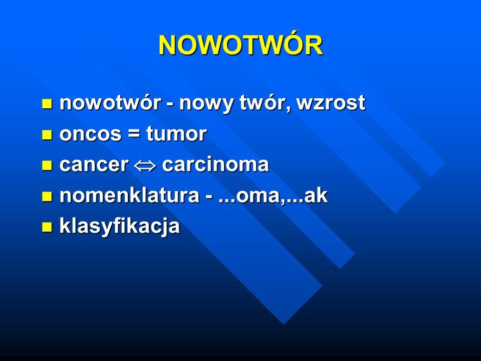 NOWOTWÓR nowotwór - nowy twór, wzrost oncos = tumor cancer  carcinoma