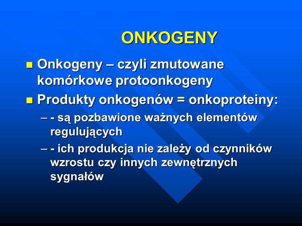 ONKOGENY Onkogeny – czyli zmutowane komórkowe protoonkogeny