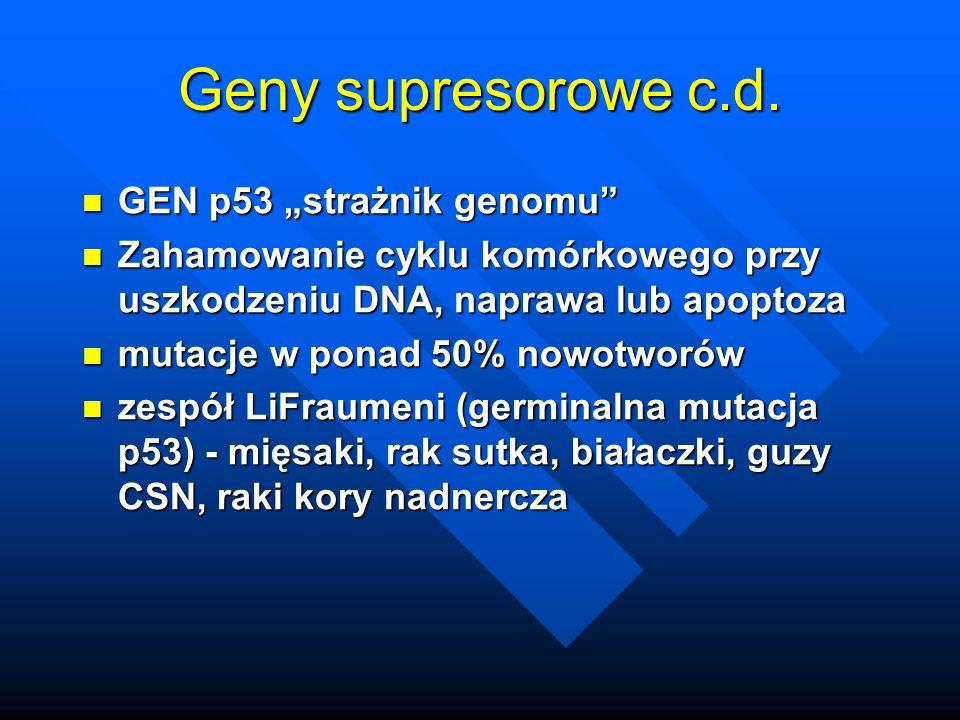"Geny supresorowe c.d. GEN p53 ""strażnik genomu"