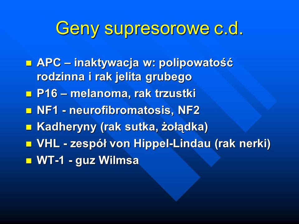 Geny supresorowe c.d. APC – inaktywacja w: polipowatość rodzinna i rak jelita grubego. P16 – melanoma, rak trzustki.