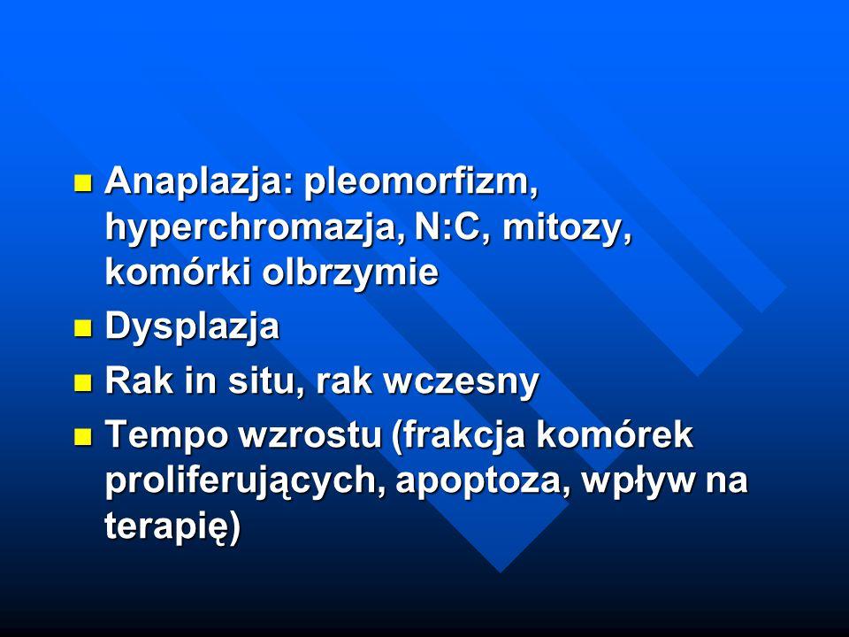 Anaplazja: pleomorfizm, hyperchromazja, N:C, mitozy, komórki olbrzymie
