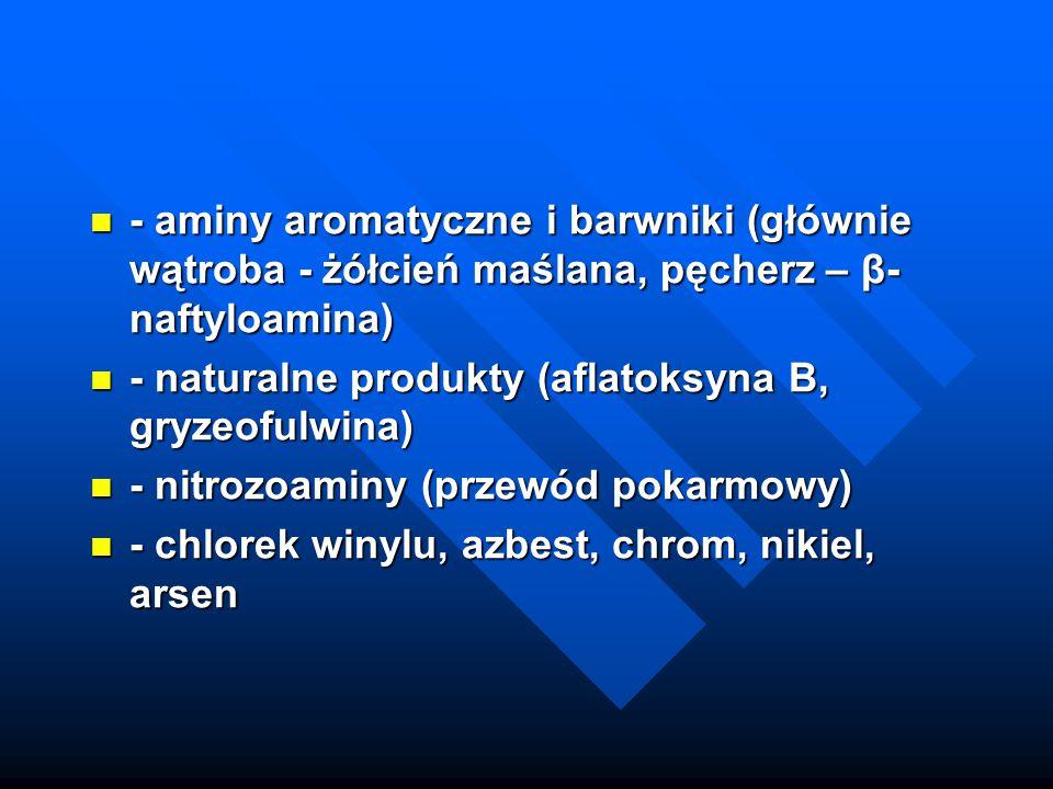 - aminy aromatyczne i barwniki (głównie wątroba - żółcień maślana, pęcherz – β-naftyloamina)