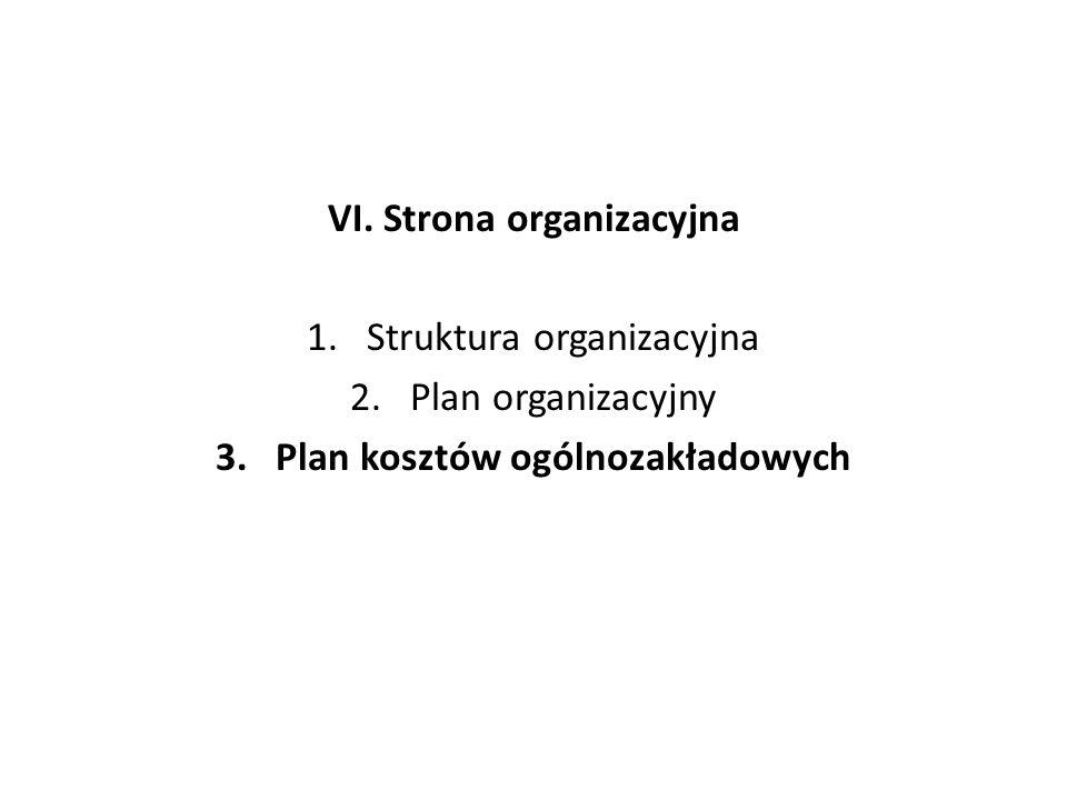VI. Strona organizacyjna Plan kosztów ogólnozakładowych
