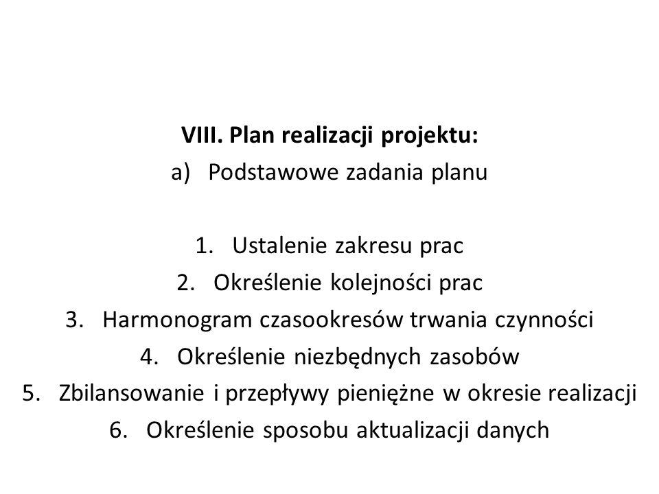 VIII. Plan realizacji projektu:
