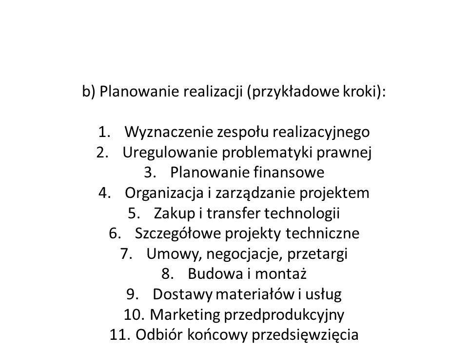 b) Planowanie realizacji (przykładowe kroki):