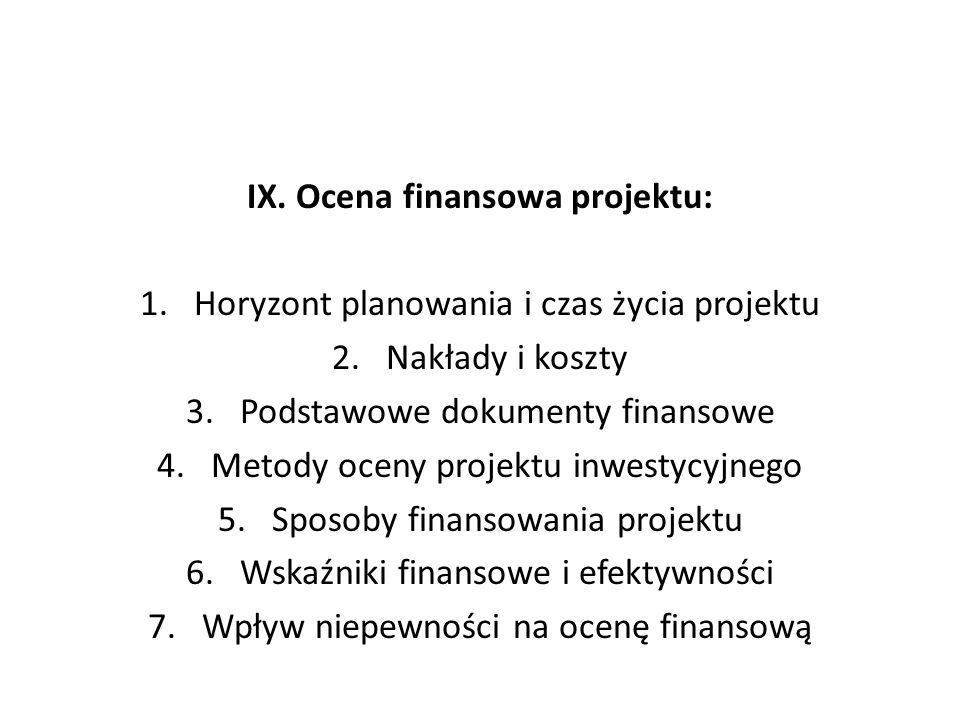 IX. Ocena finansowa projektu: