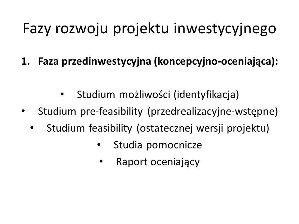 Fazy rozwoju projektu inwestycyjnego