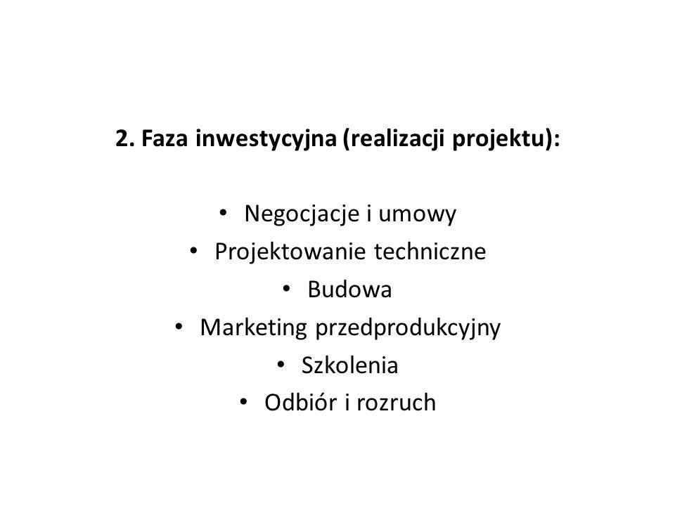 2. Faza inwestycyjna (realizacji projektu):