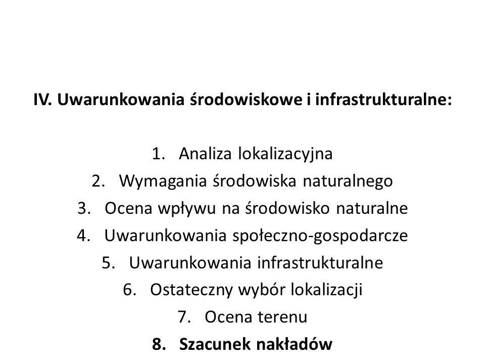 IV. Uwarunkowania środowiskowe i infrastrukturalne: