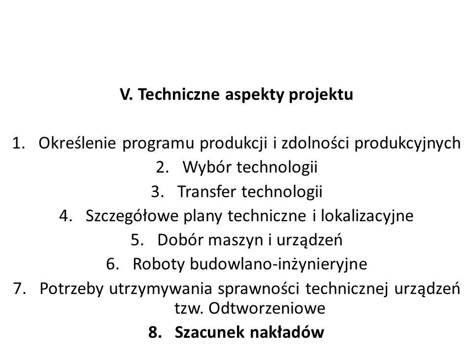 V. Techniczne aspekty projektu