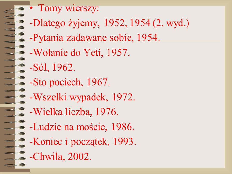Tomy wierszy: -Dlatego żyjemy, 1952, 1954 (2. wyd.) -Pytania zadawane sobie, 1954. -Wołanie do Yeti, 1957.