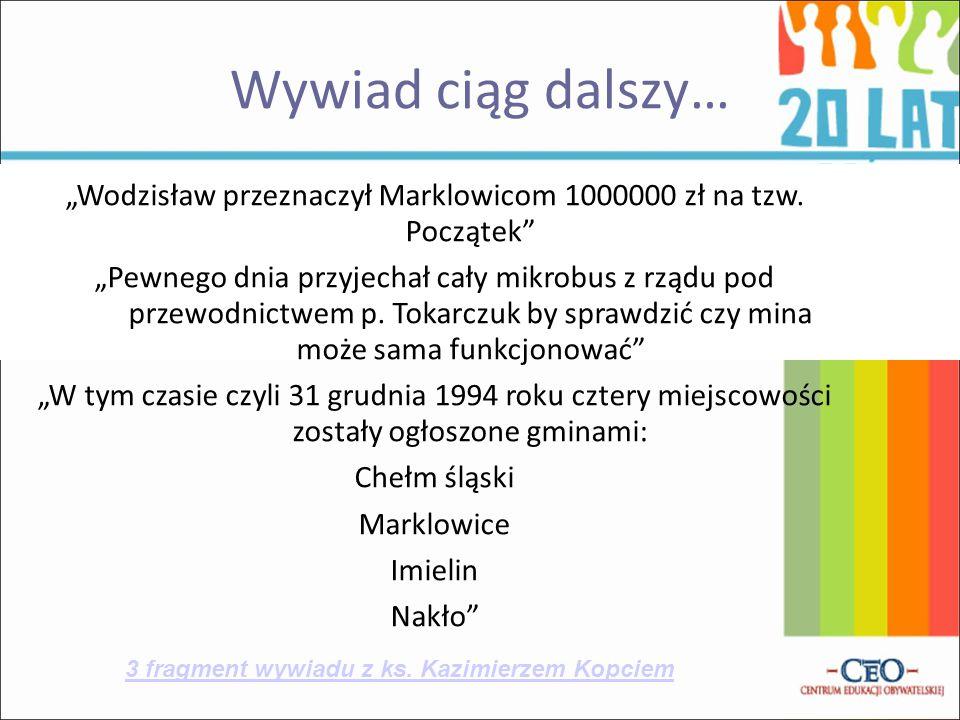 """""""Wodzisław przeznaczył Marklowicom 1000000 zł na tzw. Początek"""
