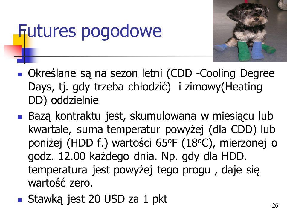 Futures pogodowe Określane są na sezon letni (CDD -Cooling Degree Days, tj. gdy trzeba chłodzić) i zimowy(Heating DD) oddzielnie.