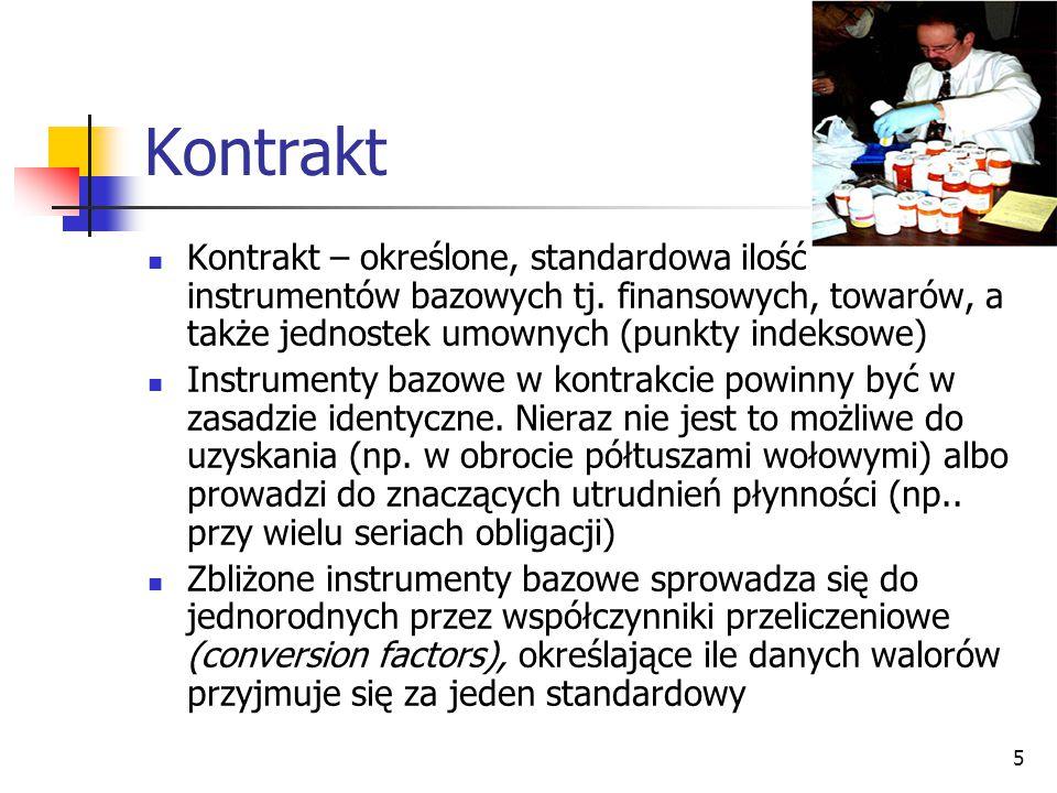 Kontrakt Kontrakt – określone, standardowa ilość instrumentów bazowych tj. finansowych, towarów, a także jednostek umownych (punkty indeksowe)