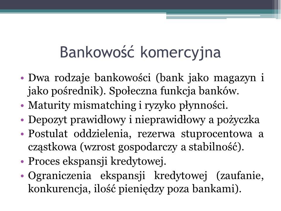 Bankowość komercyjna Dwa rodzaje bankowości (bank jako magazyn i jako pośrednik). Społeczna funkcja banków.
