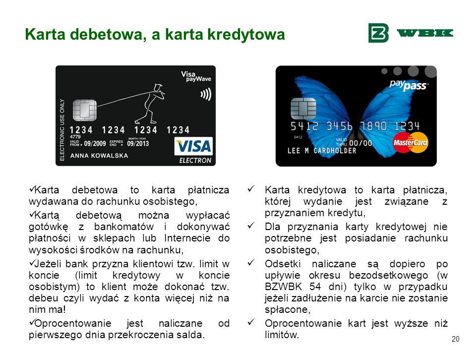 Karta debetowa, a karta kredytowa