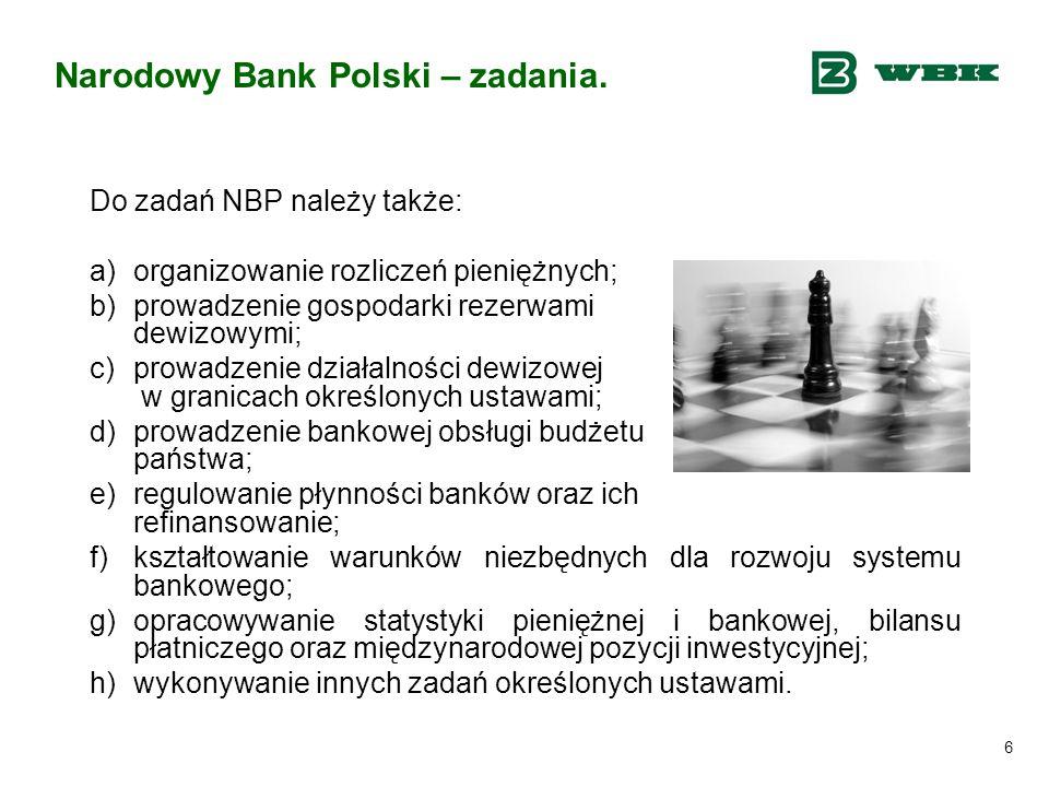 Narodowy Bank Polski – zadania.