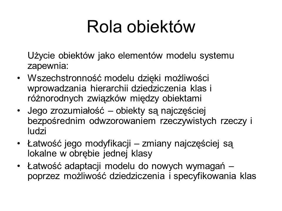 Rola obiektów Użycie obiektów jako elementów modelu systemu zapewnia: