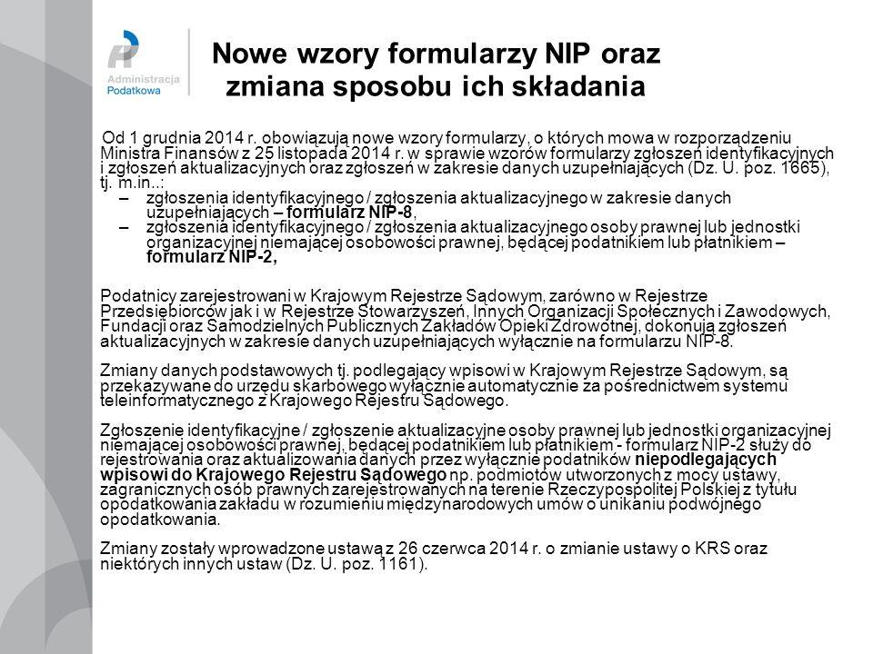Nowe wzory formularzy NIP oraz zmiana sposobu ich składania
