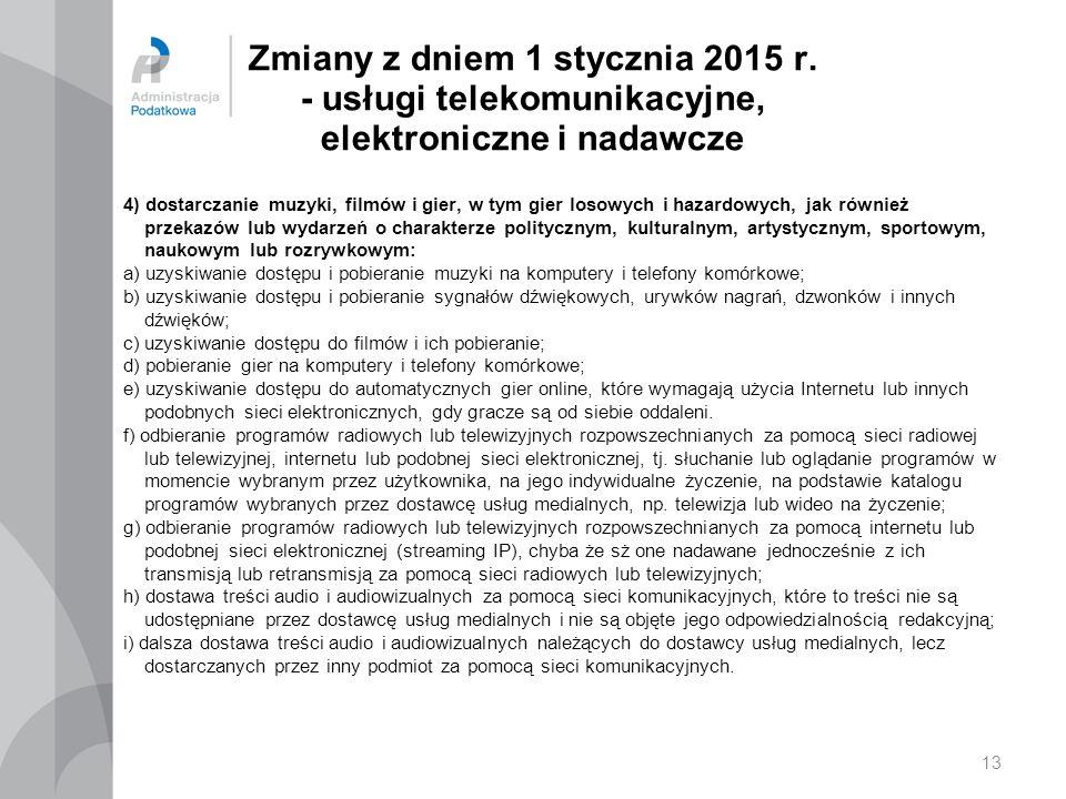 Zmiany z dniem 1 stycznia 2015 r