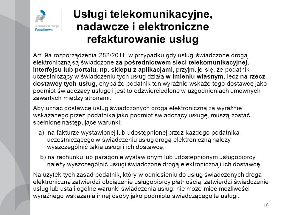 Usługi telekomunikacyjne, nadawcze i elektroniczne refakturowanie usług