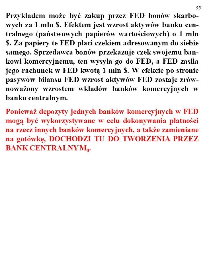 Przykładem może być zakup przez FED bonów skarbo-wych za 1 mln $