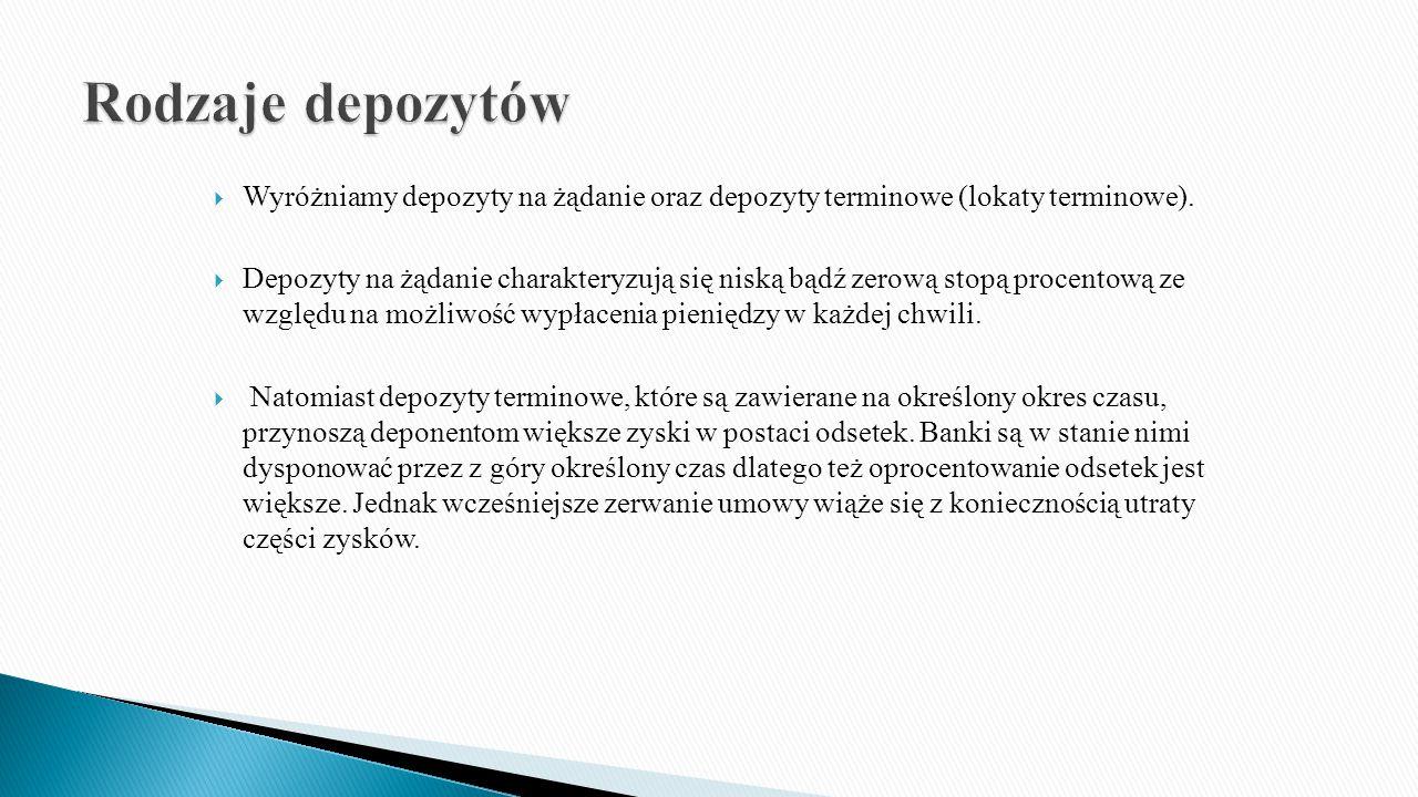 Rodzaje depozytów Wyróżniamy depozyty na żądanie oraz depozyty terminowe (lokaty terminowe).