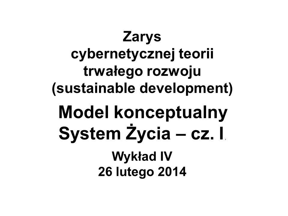 Zarys cybernetycznej teorii trwałego rozwoju (sustainable development) Model konceptualny System Życia – cz.