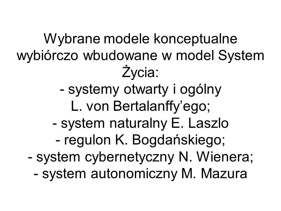 Wybrane modele konceptualne wybiórczo wbudowane w model System Życia: - systemy otwarty i ogólny L.