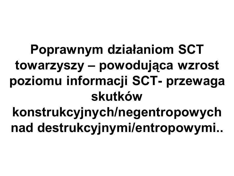 Poprawnym działaniom SCT towarzyszy – powodująca wzrost poziomu informacji SCT- przewaga skutków konstrukcyjnych/negentropowych nad destrukcyjnymi/entropowymi..