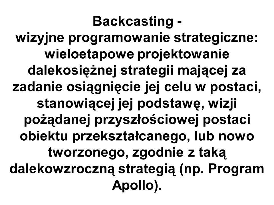 Backcasting - wizyjne programowanie strategiczne: wieloetapowe projektowanie dalekosiężnej strategii mającej za zadanie osiągnięcie jej celu w postaci, stanowiącej jej podstawę, wizji pożądanej przyszłościowej postaci obiektu przekształcanego, lub nowo tworzonego, zgodnie z taką dalekowzroczną strategią (np.
