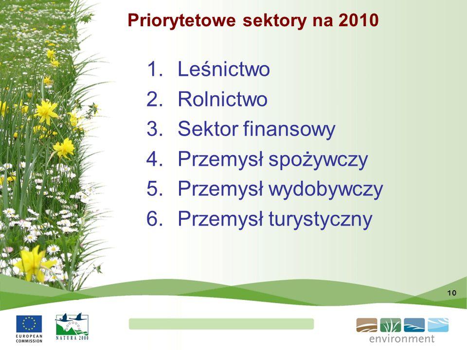 Priorytetowe sektory na 2010