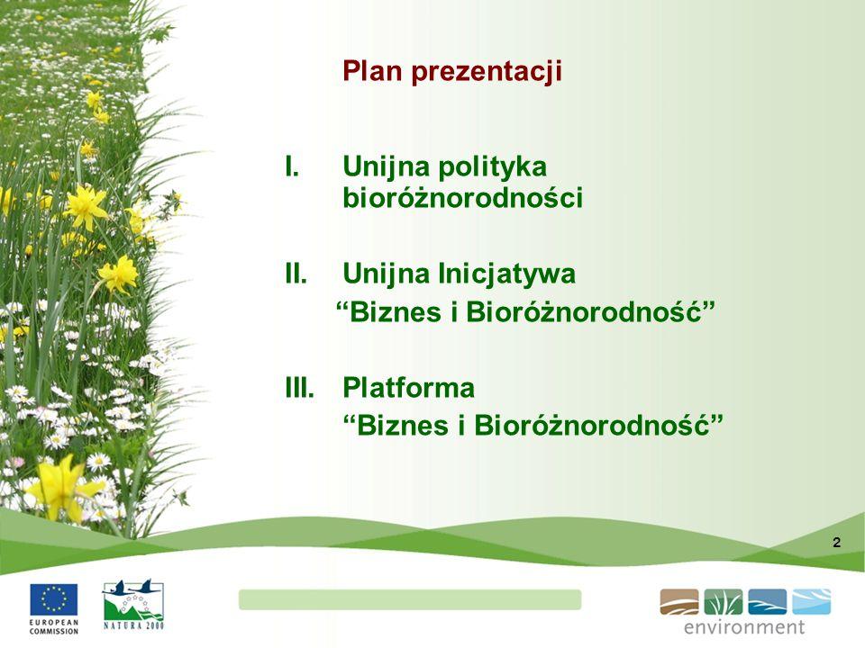 Plan prezentacji Unijna polityka bioróżnorodności.