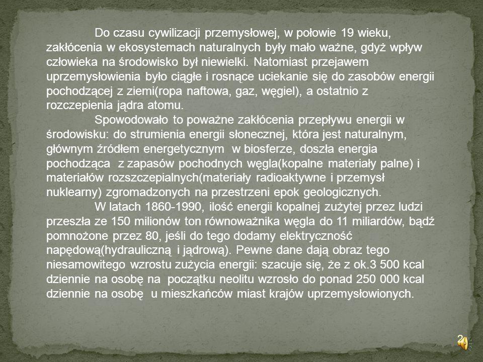 Do czasu cywilizacji przemysłowej, w połowie 19 wieku, zakłócenia w ekosystemach naturalnych były mało ważne, gdyż wpływ człowieka na środowisko był niewielki. Natomiast przejawem uprzemysłowienia było ciągłe i rosnące uciekanie się do zasobów energii pochodzącej z ziemi(ropa naftowa, gaz, węgiel), a ostatnio z rozczepienia jądra atomu.